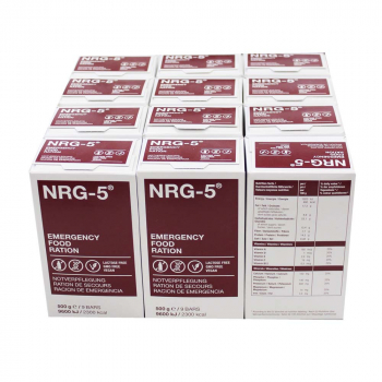 12 packs of NRG-5 emergency food ration, 500g each, 12 package at 9 bars