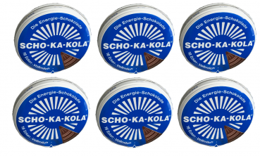 6 x 100 g Scho-Ka-Kola Whole milk, Energy chocolate, with caffeine